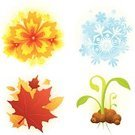 Four Seasons,Winter,Autumn,Symbol,Icon Set,Summer,Springtime,Snowflake,Flower,Dirt,Leaf,Vector,Plant,Colors,Hibiscus,Ilustration,Ornate,Vibrant Color,Yellow,No People,Color Image,White Background,Growth,Freshness,Digitally Generated Image