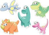 Dinosaur,Baby,Cartoon,Animal,Cute,Young Animal,Vector,Family,Humor,Brontosaurus,Pterodactyl,Prehistoric Era,Fun,Facial Expression,Childhood,The Past,Color Image,Smiley Face,Characters,tyrannosaur,Group Of Animals,Ilustration,Remote
