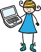 Little Girls,Teenage Girls,Nerd,Computer,Laptop,Cartoon,Technology,PC,Pencil Drawing,Doodle,Ilustration,Vector,Simplicity,One Person,Grunge,Holding,Design Element,Concepts And Ideas,Communication,Communication,White Background,Illustrations And Vector Art,blank screen,Computers,Technology,Blond Hair