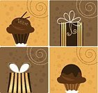 Cupcake,Gift Box,Ice Cream,Dessert,Sweet Food,Gift,Bow,Vector,Ilustration,Holiday,Clip Art,Chocolate Ice Cream,Chocolate Dessert Cup,Holidays And Celebrations,Birthdays,Illustrations And Vector Art,Dark Chocolate,Gourmet,Food And Drink