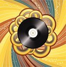 Record,Music,Retro Revival,Backgrounds,Swirl,Gold Colored,Ilustration,Circle,Brown,Arts And Entertainment,Vector Backgrounds,Illustrations And Vector Art,Music,Yellow,Vector,Star Shape,Green Color