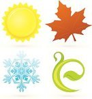 Four Seasons,Symbol,Leaf,Icon Set,Winter,Freshness,Sun,Springtime,Autumn,Snowflake,Summer,Growth,Plant,Nature,Vector,Ice,Green Color,White Background,Blue,No People,Ilustration,Ornate,Heat - Temperature,Colors,Brown,Color Image,Digitally Generated Image,Yellow