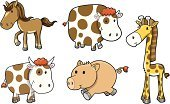 Horse,Pony,Cute,Cow,Giraffe,Pig,Vector,Ilustration,Animal,Illustrations And Vector Art,Animals And Pets,Domestic Pig,Set