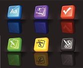Text,Alphabet,Three-dimensional Shape,Symbol,Check Mark,Computer Icon,Book,Cutting,Education,Scissors,Bookmark,Pencil,Palette,Blue,Multi Colored,Design,Shiny,Paintbrush,Purple,Green Color,Design Element,Isolated,Yellow,Shadow,Plastic,Saturated Color,Gray,Black Color,Red,Reflection,Vibrant Color