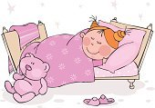 Sleeping,Cartoon,Child,Bed,Little Girls,Pajamas,Teddy Bear,Vector,Pillow,Small,Tired,Blanket,Toy,Childhood,Pink Color,Friendship,Night,Slipper,Preschool,Humor,Ilustration,Comfortable,Textile,Human Eye,Colors,Bizarre,Human Hair,Human Hand,Smiling,Illustrations And Vector Art,Lifestyle,Preschooler,People,Babies And Children,Vector Cartoons