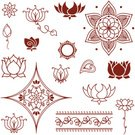 Lotus Water Lily,Henna Tattoo,Mandala,Indian Culture,Vector,Symbol,Bud,Petal,Ilustration,Collection,Leaf,Floral Pattern,Design Element,Purity,Innocence,Beauty In Nature,Vector Florals,Illustrations And Vector Art,Vector Ornaments,Pen And Ink,Arrangement,Isolated On White