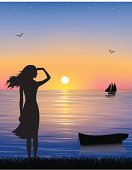 Women,Sunset,Nautical Vessel,Sea,Dreamlike,Silhouette,People,Landscape,Painting,Waiting,Nature,Sailing,Romance,Profile View,Body,Industrial Ship,Morning,Beauty,Tranquil Scene,Beautiful,Dusk,Relaxation,Seascape,Elegance,Pink Color,Black Color,Ilustration,Silence,Non-Urban Scene,Backgrounds,Sun,Environment,Teenager,Patience,Blue,Fragility,Grace,Staring,Sky,People,Ornate,Illustrations And Vector Art,Image,Landscapes,Vector Backgrounds,Sunlight,Nature