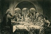 Meal,Ilustration,People,Gaius,Group Of People,Engraved Image,Number 9,Dining,Catholicism,1870,Meeting,Black And White,Christianity,Number of People,Horizontal,Arts And Entertainment,Arts Symbols,Arts Backgrounds,Visual Art,Home Interior