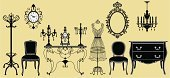 Antique,Retro Revival,Old-fashioned,Furniture,Chair,Mirror,Coat Hook,Silhouette,Mannequin,Clock,Coathanger,Table,Old,Candlestick Holder,Symbol,Armchair,Ilustration,Elegance,Indoors,Design,Floral Pattern,Label,Sideboard,Buffet,Decoration,Style,Renaissance,Candle,century,imagery,Illustrations And Vector Art,Objects/Equipment,Household Objects/Equipment