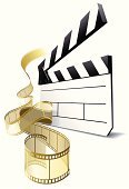 Hollywood - California,Film Reel,Camera Film,Film Slate,Movie,Gold Colored,Film Industry,Entertainment,Gold,Movie Theater,Industry,Ilustration,anouncement,motion picture,Celebrities,Shiny,Art,Copy Space,Fame,Director