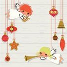 Angel,Christmas,Fairy,Toy,Trumpet,Cartoon,Retro Revival,Wood - Material,Vector,Symbol,Hanging,Cute,Plank,Christmas Decoration,Bell,Backgrounds,Greeting,Design,Star Shape,Ornate,White,Gold Colored,Lyre,Winter,Textured,Ilustration,Vector Cartoons,Vector Backgrounds,Creativity,Christmas,Holidays And Celebrations,Illustrations And Vector Art,December,Copy Space,Joy