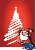 Christmas Tree,Santa Claus,Christmas,Bag,Cartoon,Humor,Cool,Greeting,Gift,Smiling,Sack,Vector,Ilustration,Holiday,season greetings,Congratulating,Star Shape,Cheerful,Adult,Fairy Tale,Fabolous,Celebration,Mustache,Snowflake,Holidays,Christmas,Winter,Holidays And Celebrations,Nature,Travel Locations,Beard