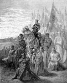 King,King Louis IX,Knight,Medieval,Spirituality,Horse,Cross,The Crusades,Ilustration,Image Created 19th Century,Image Date,Illustration Technique,Art Product,Praying,Army,Sword,History,Historical War Event,Circa 12th Century,Military Invasion,Concepts And Ideas,Religion,Gustave Dore,Royal Person,Chain Mail,Black And White,Cavalry,Religion,Suit of Armor,The Past,Monoprint,Armed Forces,Time Period,Middle Ages,Weapon,Christianity,Historical Palestine,Shield,Engraved Image,Army Soldier,Old-fashioned