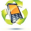 Recycling Symbol,Telephone,Mobile Phone,Green Color,Environmental Conservation,Telecommunications Equipment,Arrow Symbol,Three-dimensional Shape,Vector,Concepts,Technology,Communications Technology,White Background,Telecom