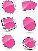 Interface Icons,Label,Three-dimensional Shape,Pink Color,Shiny,Computer Icon,Arrow Symbol,Chrome,Vector,Set,Vector Icons,Illustrations And Vector Art,White Background