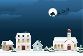 Village,Christmas,Santa Claus,Winter,Snow,Home Interior,City,Urban Scene,Sleigh,Church,Night,Reindeer,Roe Deer,Ilustration,Vector,Christmas Tree,Electric Light,Flying,Cloudscape,Cloud - Sky,Moon,Light - Natural Phenomenon,Holidays And Celebrations,Christmas,Illustrations And Vector Art,Fir Tree,No People,Full Moon