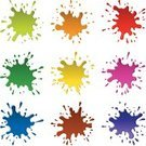 Splashing,Paint,Blob,Drop,Vector,Multi Colored,Liquid,Orange Color,Blue,Purple,Sparks,Banner,Brown,Green Color,Red,Yellow