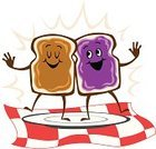 Peanut Butter And Jelly Sandwich,Peanut Butter,Preserves,Sandwich,Toast,Bread,Cartoon,Happiness,Cheerful,Food,Healthy Lifestyle,Meal,Vegetarian Food,Smiling,Lunch,American Cuisine,Illustrations And Vector Art,Vector Cartoons,Food And Drink,Fun,Snack,Healthy Eating