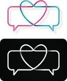 Bubble,Stock Market Data,Heart Shape,Discussion,Talking,Love,Communication,Togetherness,Interlocked,Single Line,Striped,Heterosexual Couple,Bonding,Magenta,Black Color,Holidays And Celebrations,Valentine's Day,Illustrations And Vector Art,Feelings And Emotions,Concepts And Ideas,Vector Icons,Valentine's Day - Holiday,Blue,Vector
