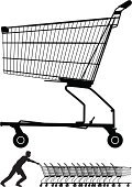 Shopping Cart,Silhouette,Basket,Pushing,Retail,Men,Empty,Wheel,Vector,Ilustration,Outline,Wire,Computer Graphic,shove,Black Color,People,Industrial Objects/Equipment,Objects/Equipment,Design Element,Working,Illustrations And Vector Art