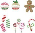 Candy Cane,Christmas,Candy,Lollipop,Cupcake,Gingerbread Cookie,Marshmallow,Gingerbread Man,Food,Sweet Food,Vector,Vector Icons,Christmas,Illustrations And Vector Art,Holidays And Celebrations