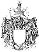 Coat Of Arms,Crown,Nobility,Shield,Eagle - Bird,Sign,Knight,Suit of Armor,Engraving,Banner,Engraved Image,Iron - Metal,Flag,Retro Revival,Drawing - Art Product,Old-fashioned,Symbol,Middle Ages,Old,Ancient,Artificial Wing,Ilustration,Antiquities,Handlebar,Canopy,Antique,Decoration,pageantry,History,Power