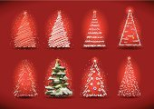 Christmas Tree,Christmas Decoration,Christmas,Sketch,Ilustration,Red,Winter,Snow,Star Shape,Set,Christmas,New Year's,Decoration,Holiday,Holidays And Celebrations
