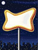 Theater Marquee,Night,Sky,City,Sign,Illuminated,Light Bulb,Built Structure,Star - Space,Building Exterior,Vector,Pole,Arts And Entertainment,Vector Backgrounds,Illustrations And Vector Art,Urban Scene,Ilustration,Moon
