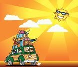 Car,Family,Travel,Journey,Vacations,Cartoon,Suitcase,Sun,Sunlight,Heat - Temperature,Cheerful,Happiness,Sunglasses,Vector,Eyewear,Ilustration,Land Vehicle,Energy,Star - Space,Smiling,Vibrant Color,hand drawn,Cloud - Sky,Glowing,summer vacation,Illuminated