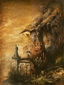 Fantasy,Painting,Old,Art,Paintings,Medieval,Marionette,Mystery,House,Surrealism,Ilustration,Painted Image,Old Ruin,Imagination,Surreal,Paper,Doll,Retro Revival,Old-fashioned,Ruined,Illustration Technique,Image,Architecture,Tempera Painting,Statue,Color Image,Arts And Entertainment,Brown,Vertical,Colors,Textured Effect,Rust,Visual Art,Illustrations And Vector Art