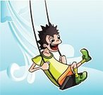 Preschooler,Summer,Computer Graphic,Childhood,Swinging,Child,People,Small,Cheerful,Babies And Children,Joy,Lifestyle,Illustrations And Vector Art,Men,People,Vector Cartoons,Vector,Smiling,Playful,Fun
