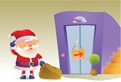 Elevator,Santa Claus,Ilustration,Vector,Failure,Holidays And Celebrations,Christmas,Vector Cartoons,out of service,Delivering,Concepts,Concepts And Ideas,Illustrations And Vector Art