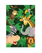 Tropical Rainforest,Animal,Cartoon,Monkey,Safari,Backgrounds,Lion - Feline,Giraffe,Forest,Cute,Tree,Elephant,Safari Animals,Zebra,Hippopotamus,Humor,Animals In The Wild,Plant,Nature,Fun,Smiling,Wildlife,Mammal,Happiness,Illustrations And Vector Art,Animals And Pets,Wild Animals,Vector Cartoons