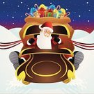 Sleigh,Santa Claus,Christmas,Cartoon,Gift,Toy,Teddy Bear,Ribbon,Hat,Rein,Christmas,Star Shape,Vector Cartoons,Smiling,Cheerful,Snowing,Beard,White,Happiness,Holidays And Celebrations,Illustrations And Vector Art,Snow,Holiday Symbols,Candy Cane,Ilustration,Red,Cute,Sack