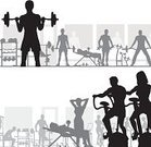 Gym,Exercising,Silhouette,Sports Training,Men,Vector,Equipment,Exercise Bike,Women,Weight Training,Weights,People,Healthy Lifestyle,Ilustration,Outline,Focus On Foreground,Computer Graphic,Action,Fitness,People,Sports And Fitness,Illustrations And Vector Art,Design Element