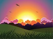 Bird,Colors,Multi Colored,Vibrant Color,Landscape,Dusk,Flock Of Birds,Springtime,Rolling Landscape,Sky,Sun,Bright,Sunset,Idyllic,Mountain,Nature,Flying,Mountain Range,Meadow,Front or Back Yard,Horizon Over Land,Non-Urban Scene,Heat - Temperature,Relaxation,Lawn,Cloud - Sky,Rural Scene,Hill,Horizon,Freedom,Summer,Grass,Tranquil Scene,Orange Color,Mountain Peak,Nature Backgrounds,Cloudscape,Beauty In Nature,Land,Comfortable,Nature,Landscapes,Summer