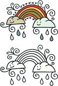 Rainbow,Doodle,Cute,Rain,Cloud - Sky,Raindrop,Cartoon,Multi Colored,Weather,Smiling,Black And White,Design Element,Small,Cheerful,Style,Concepts And Ideas,Nature,Illustrations And Vector Art,Concepts,Happiness,White Background,Vector,Line Art,Ilustration,Pencil Drawing