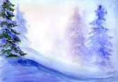 Watercolor Painting,Winter,Backgrounds,Tree,Pine Tree,Pine,Paintings,Painted Image,Nature,Art,Paper,Colors,Color Image,Blue,Season,Illuminated,Arts And Entertainment,Holidays And Celebrations,Blob,Winter,Nature,Visual Art,Christmas,Fir Tree,Purple,Image,No People