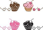 Cupcake,Cherry,Vector,Pink Color,Icing,Drawing - Art Product,Fun,Ilustration,Clip Art,Pencil Drawing,Sparse,Illustrations And Vector Art,Food And Drink,Incomplete,hand drawn