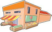 Supermarket,Store,Cartoon,Groceries,Built Structure,Greengrocer's Shop,Vector,Public Building,Ilustration,Food,Vegetable,Building Feature,Place of Work,Retail,Industry,Retail/Service Industry,Vector Cartoons,Single Object,Illustrations And Vector Art,Architecture And Buildings