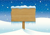 Sign,Wood - Material,Snow,Ice,Icicle,Christmas,Winter,Wood Grain,Snowy Scene,wooden sign,Illustrations And Vector Art,Copy Space,Vector Backgrounds,Christmas,Winter,Holidays And Celebrations,Nature