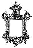 Ilustration,Antique,Engraving,Frame,Drawing - Art Product,Old,Old-fashioned,Art Deco,Nobility,Engraved Image,Floral Pattern,Ribbon,Decoration,History,pageantry