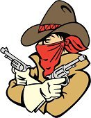 Criminal,Cowboy,Wild West,Handgun,Cowboy Hat,Thief,Mask,Sports Symbols/Metaphors,Vector Cartoons,Character Traits,Sports And Fitness,Illustrations And Vector Art,Concepts And Ideas