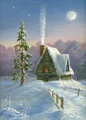 Christmas,Non-Urban Scene,Winter,Snow,Paintings,House,Holiday,Night,Cabin,Road,Landscaped,Painted Image,Forest,Village,Paint,Cartoon,Snowing,Rural Scene,Moon,Outdoors,Pine,Woodland,Blue,Footpath,Ice,Season,Tree,Weather,Image,Ilustration,Pine Tree,Fir Tree,Spruce Tree,Sunset,Color Image,Illuminated,Visual Art,Vacations,Nature,Colors,Winter,Holidays And Celebrations,Christmas,Serene People,Nature,Star - Space,Silence,North,Arts And Entertainment,Art,White,No People,Frozen,Coniferous Tree,Cold - Termperature,Tranquil Scene,Snowdrift