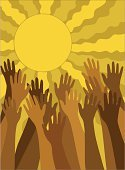 Multi-Ethnic Group,Human Hand,Reaching,Sun,Human Finger,Sky,Vector,People,Illustrations And Vector Art,Concepts And Ideas,Ilustration
