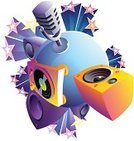 Planet - Space,Sound,Speaker,Turntable,Microphone,Music,Disco,Record,Vector,Blue,Sphere,Concepts,Ilustration,No People,Music,Star Shape,Multi Colored,Dance,Arts And Entertainment,Concepts And Ideas,Clip Art