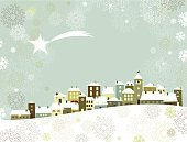 Christmas,Winter,House,Village,Snow,Retro Revival,Landscape,Old-fashioned,Roof,Star - Space,Backgrounds,Star Shape,Snowing,Horizontal,Christmas,Holiday Backgrounds,Landscapes,Copy Space,Nature,Holidays And Celebrations