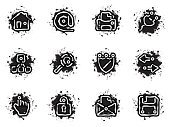Dirty,Grunge,Symbol,House,Computer Icon,Human Hand,Icon Set,Internet,Downloading,Paint,Printer,Computer,Electric Plug,Searching,Interface Icons,'at' Symbol,Shield,White,Black Color,Cursor,Iconset,Link,Lock,Arrow Symbol,Safety,E-Mail,Exchanging,Stained,Correspondence,Magnifying Glass,Firewall,Equipment,Padlock,Envelope,@,Illustrations And Vector Art,Security,Protection,Message,uploading,Communication,Floppy Disk,Site Map,Vector,Letter,Vector Icons