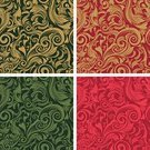 Backgrounds,Christmas,swirly,Seamless,Floral Pattern,Green Color,Antique,Elegance,Gold Colored,Red,Swirl,Vector,Retro Revival,Wallpaper Pattern,No People,Color Image,Repetition,Ornate,Christmas,Vector Backgrounds,Holidays And Celebrations,Illustrations And Vector Art,Square,Style