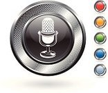 Silver Colored,Microphone,Digitally Generated Image,Green Color,Metal,Sphere,Red,Orange Color,Blue,Circle,Empty,Metallic,White Background,Blank,Computer Icon,Curve